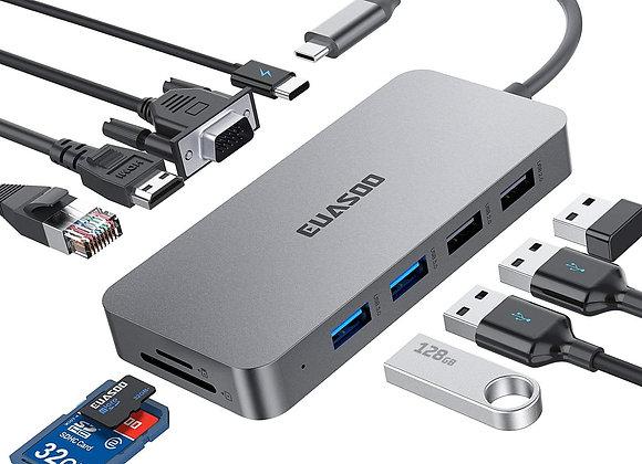 Hub USB C, Adaptador 10 en 1 Euasoo