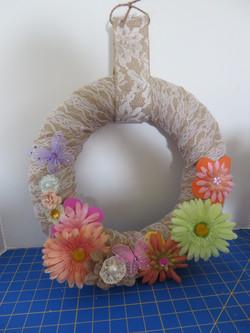 Spring burlap lace wreath