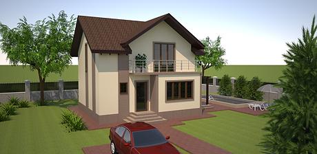 Proiect Casa Parter plus Mansardă, Suprafață 121 mp