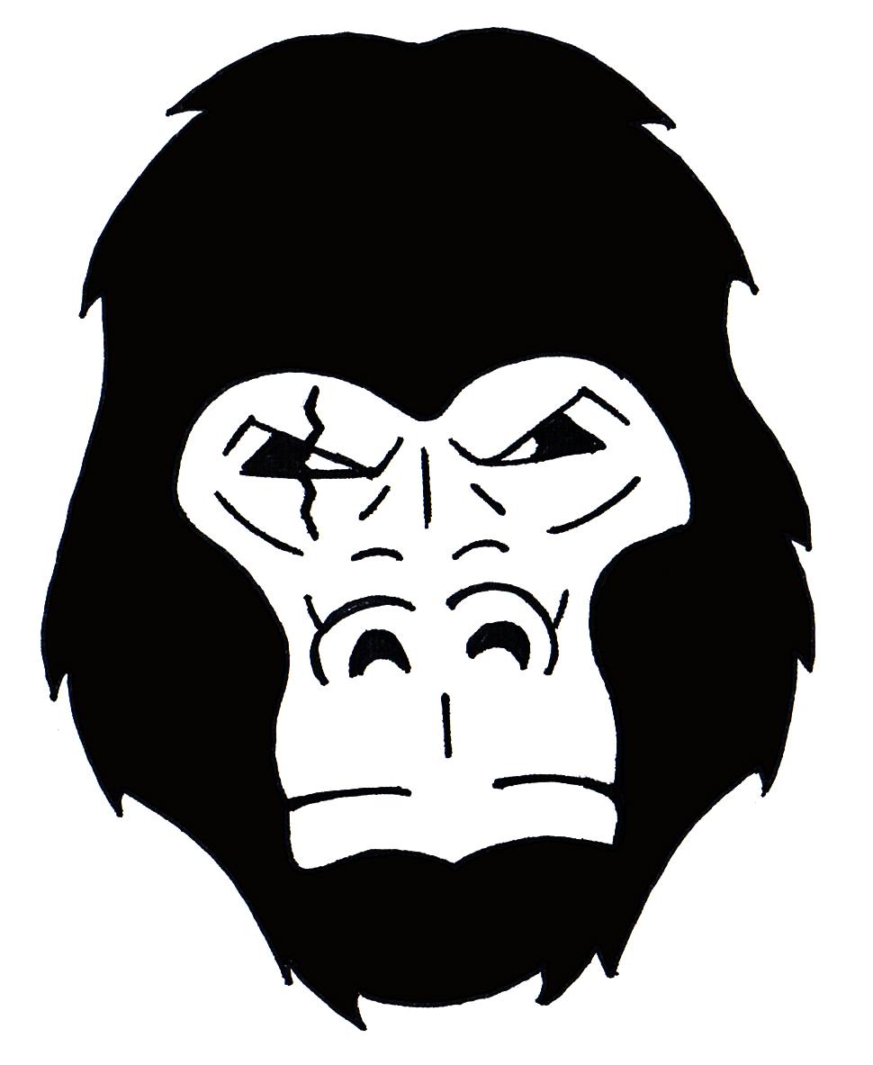 Gorilla head inked