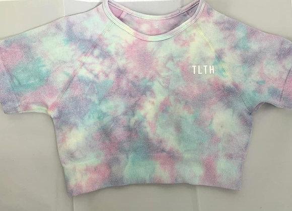 Seamless Pastel Tie Dye Cropped T-Shirt