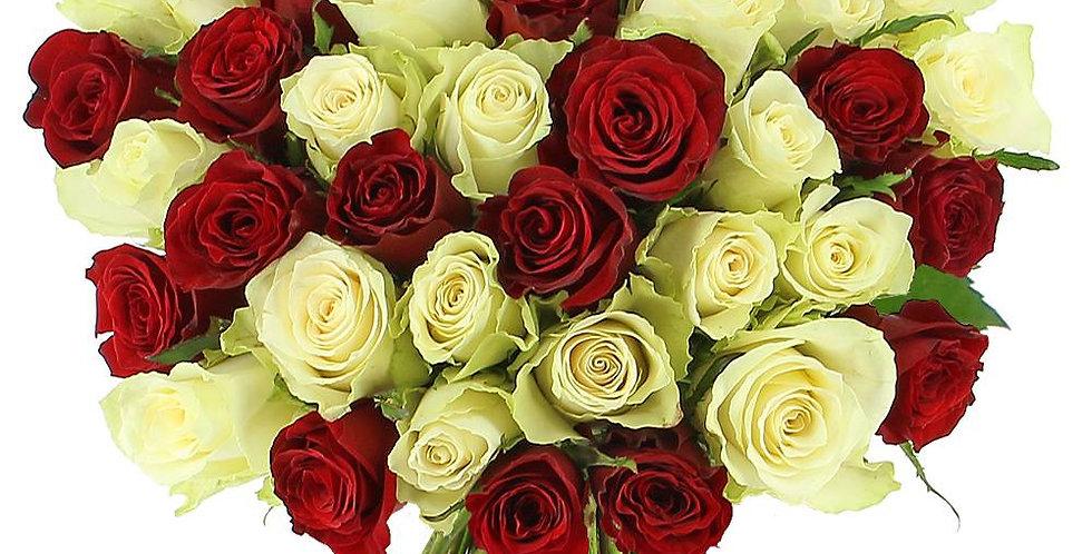 Boquet de roses rouge et blanche