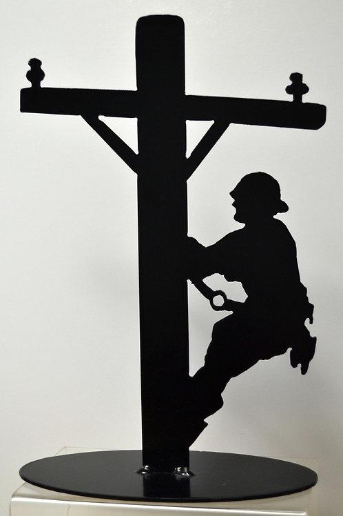 Lineman on a Pole Statue