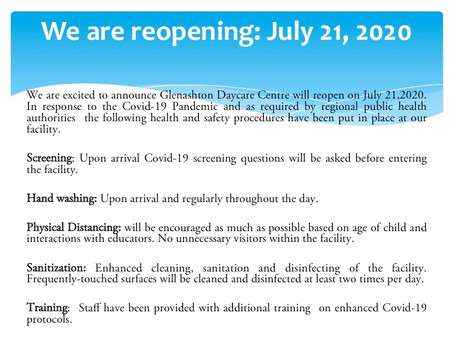 Reopening protocols: July 21, 2020