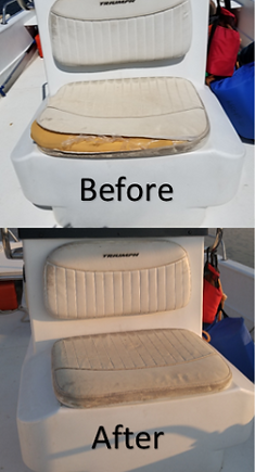 Boat cushions before and after
