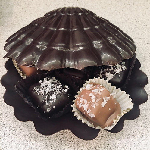 2-piece chocolate shell filled with sea salt caramels