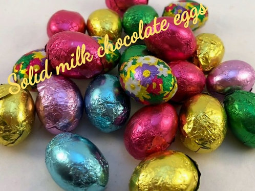 Solid milk chocolate foiled eggs