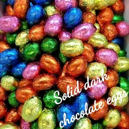 Solid dark chocolate foiled eggs