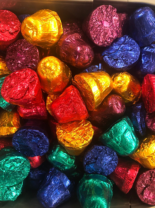 Solid dark chocolate foiled bells