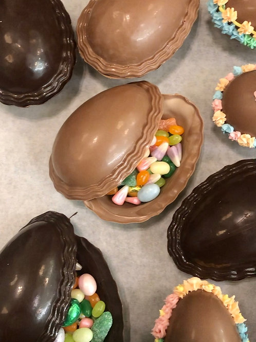 Hollow eggs filled with Easter candy