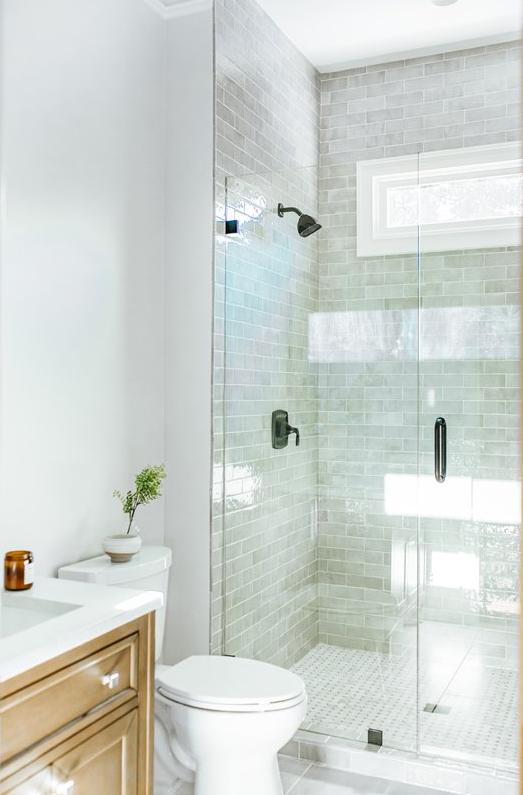 Gray Subway Tile Shower Bathroom Vanity Design Cumming, Georgia