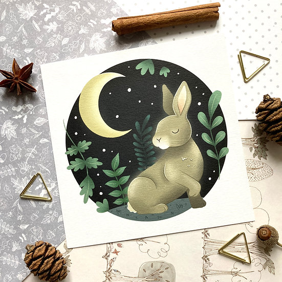 Moon Gazing Hare Art Print