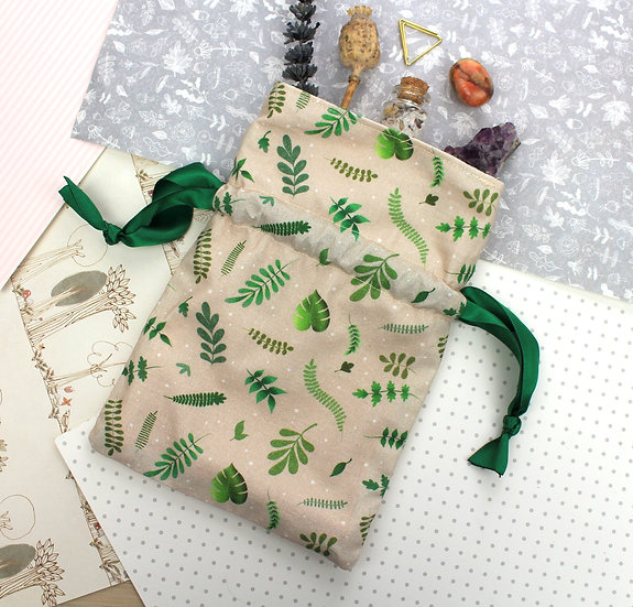 Drawstring Handmade Pouch - Plant Design