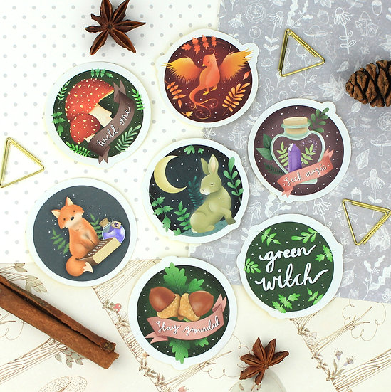 Green Witch Sticker Pack