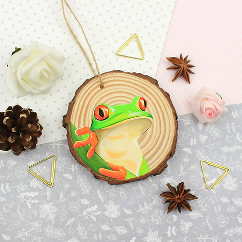 Original Painted Wooden Slice - Tree Frog