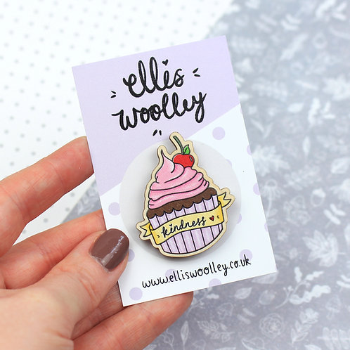 Kindness Cupcake Wooden Pin