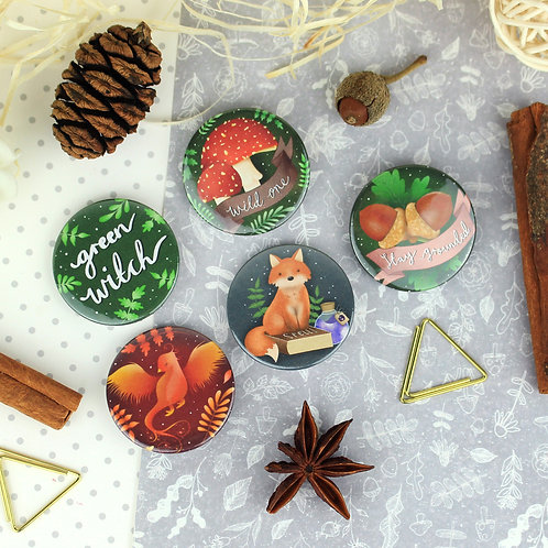 Witchy Woodland Button Badge Bundle