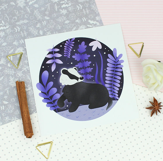 Grape Badger Art Print
