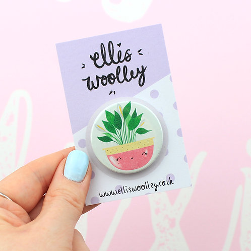 Peace Lily Button Badge
