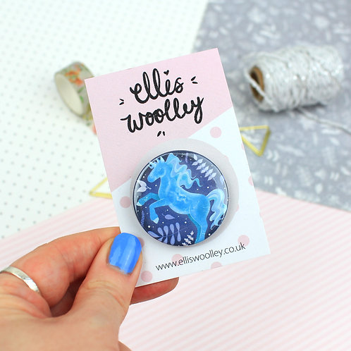 Water Unicorn Button Badge