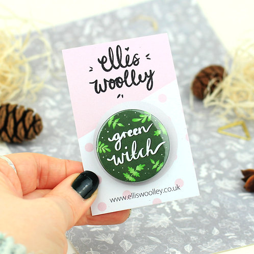 Green Witch Button Badge