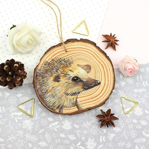 Original Painted Wooden Slice - Hedgehog