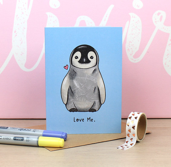 Penguin 'Love Me' Valentines Card