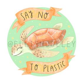 Sea Turtle - Say No To Plastic