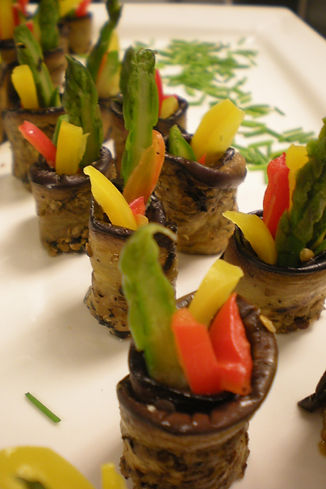 Grilled Eggplant Rolls with Jullienne Vegetables