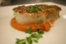 Za'atar Crusted Halibut with Tomato Concasse