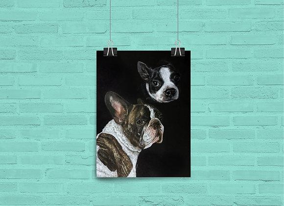 "Custom Double Image Pet Portrait 9""x12"""