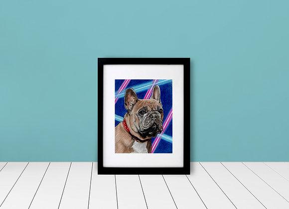 "Custom Framed Matted School Picture Pet Portrait - 5""x7"""