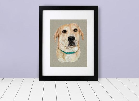 "Custom Framed & Matted Pet Portrait - 8""x10"""