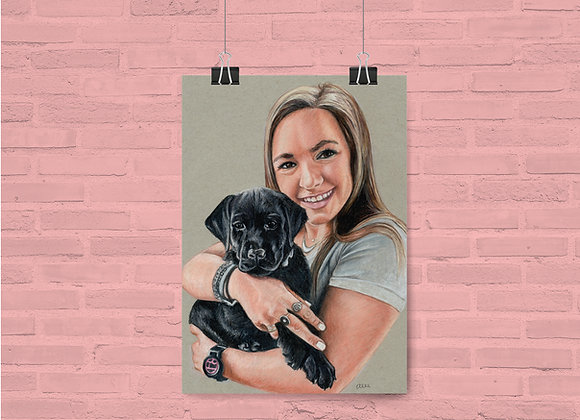 "Custom Pet and Owner Portrait 11""x14"""