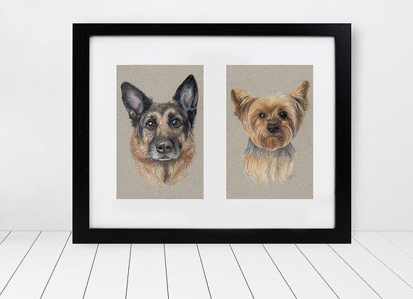 "Custom Framed & Matted Double Pet Portrait - 5""x7"""