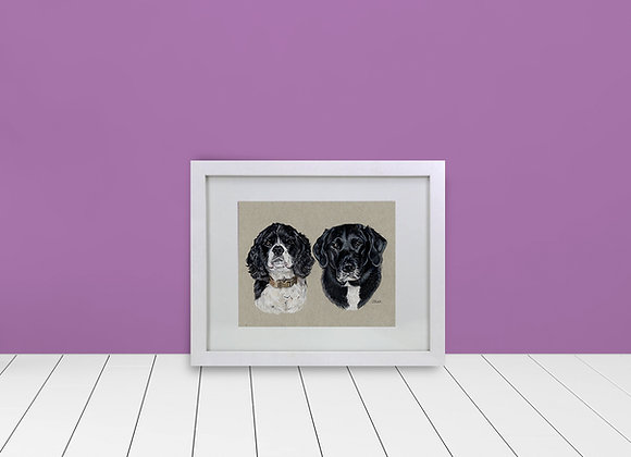 "Double Custom Framed & Matted Pet Portrait - 5""x7"""