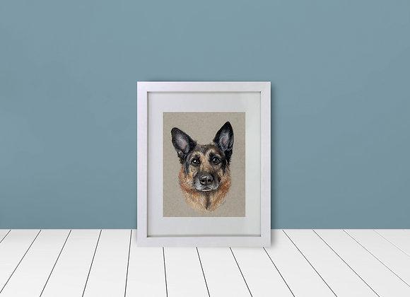 "Custom Framed & Matted Pet Portrait - 5""x7"""