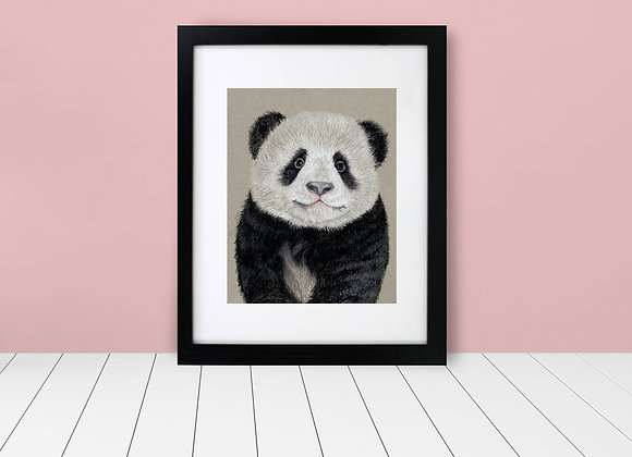 Framed and Matted - Baby Panda