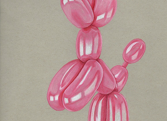 Pink Balloon Dog Original Art