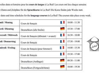 Cours de langue à la RED / Sprachkurse in der RED / language classes at la RED