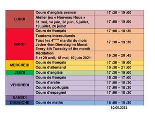 Cours de langue à la Red / Sprachkurse in der Red / language classes at la Red 2021