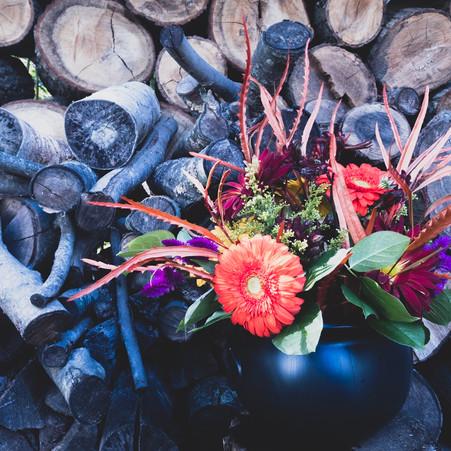 Witches Cauldron Halloween Flower Arrangement