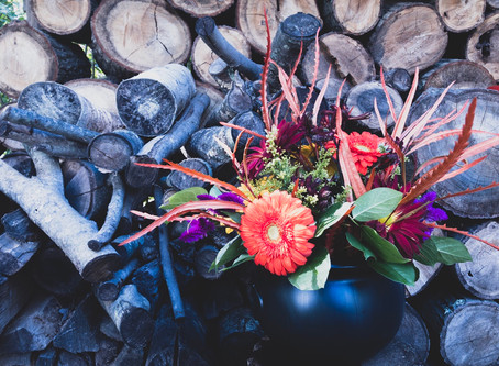 Witches Cauldron Halloween Flower Arrangement