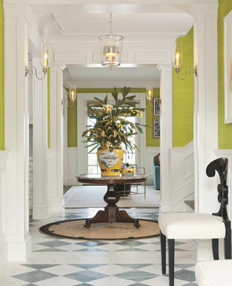 This Grand Entrance Combines Classic Checkerboard Floors With Intense  Citrus Green On The Walls For A Timeless And Fresh Style. Crisp White  Elements Balance ...