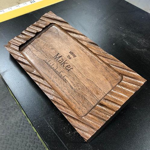 Textured Walnut Drop Tray w/ Name