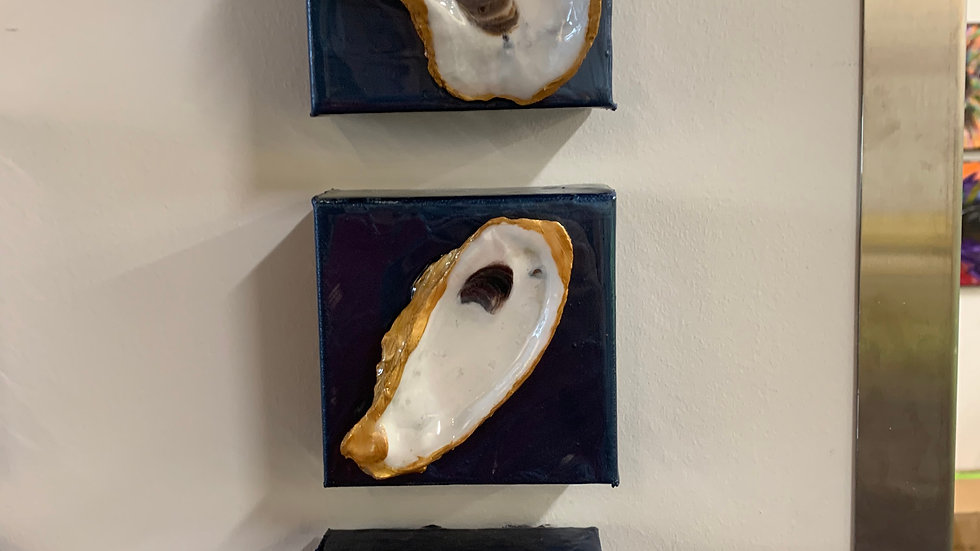 "Oyster Diptych  (3 handpainted 4"" x 4"" oysters on canvas)"