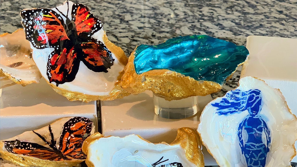 Hand Painted & Resined Oyster Shell Ring Holder by Jeanne Philippus