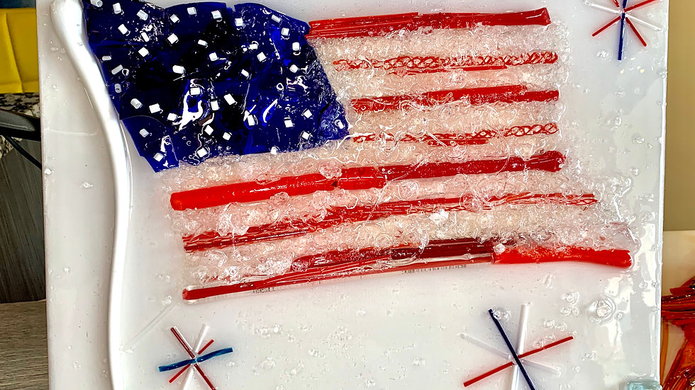 Waving American Flag Glass Art by Jeanne Philippus
