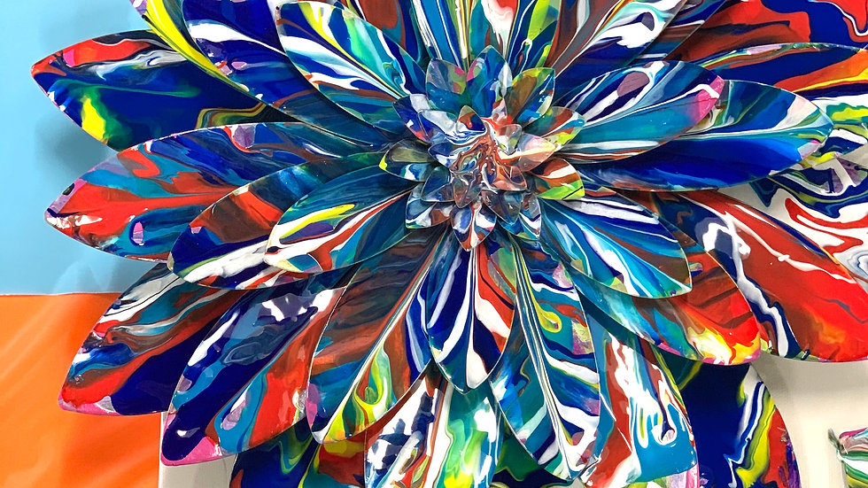 Large Metal Flower with Acrylic and Resin