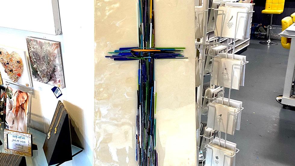 "Glass Cross on Canvas 36"" x 12"""
